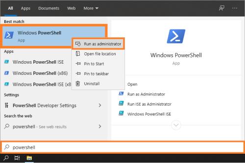 Окно подписи - Меню «Пуск» - PowerShell - Запуск от имени администратора - Windows 10 - Windows Wally
