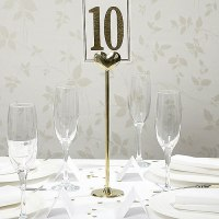 Gold Metal Heart Table Number Holder - Confetti.co.uk