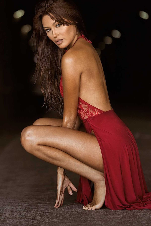 Chemise de nuit longue rouge Sexy pour femmes
