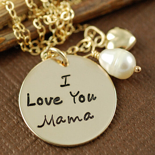 Buy I Love You Mama Hand Stamped Gold Necklace By Annie Reh Designs On OpenSky