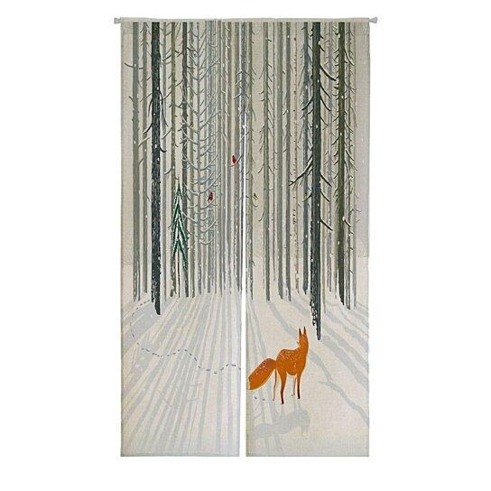 winter forest landscape with a fox japanese noren curtain doorway door window treatment curtains cotton linen curtain
