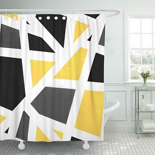 acrylics yellow gray black white geometric modern stripes bathroom decor bath shower curtain 60x72 inch