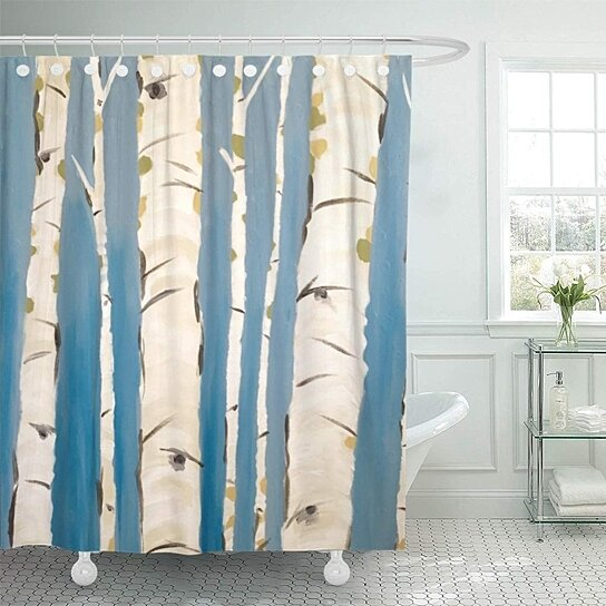 blue abstract birch tree bathroom decor bath shower curtain 60x72 inch