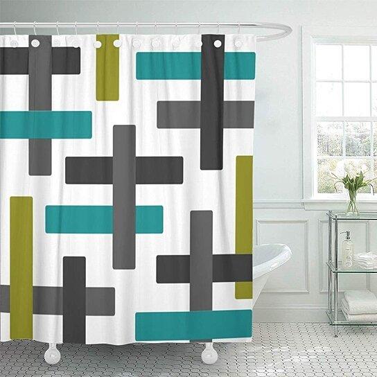 blue modern aqua chartreuse and grey abstract green contemporary bathroom decor bath shower curtain 66x72 inch