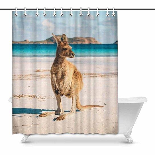 kangaroo on western australia beach house decor shower curtain for bathroom decorative bathroom shower curtain set 60x72 inch