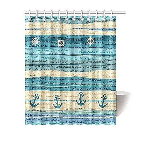 nautical sea ocean shower curtain vintage anchor blue polyester fabric shower curtain bathroom sets 60x72 inches