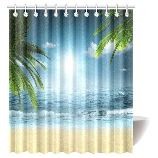 ocean beach theme decorations shower curtain beach sunset ocean bathroom decor shower curtain set with hooks 66x72 inches