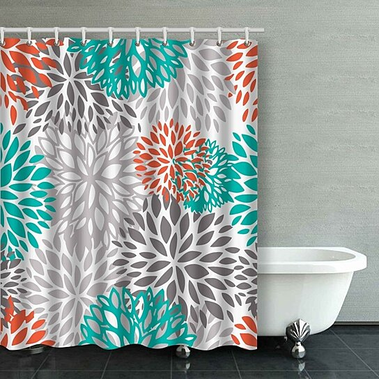 orange gray and turquoise white dahlia bathroom shower curtain 60x72 inches