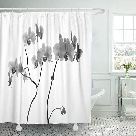 orchid flowers close on gray in black and white bathroom decor bath shower curtain 60x72 inch