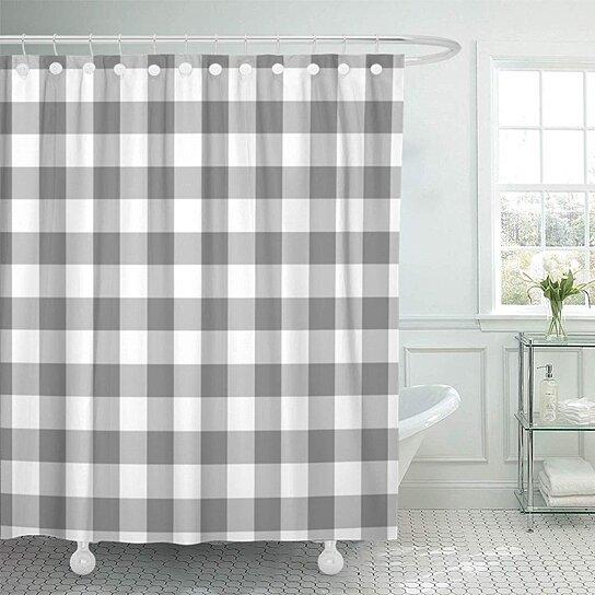 plaid gray and gingham check pattern checked checkered buffalo bathroom decor bath shower curtain 66x72 inch