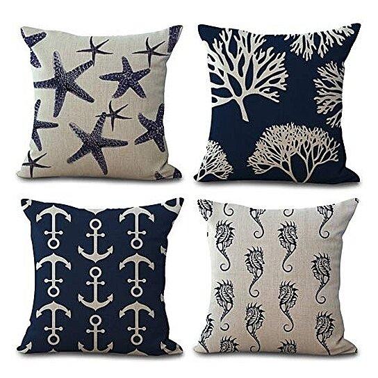 set of 4 pillow cases ocean starfish sea horse coral anchor nautical black and white pillowcase cushion cover case home decor