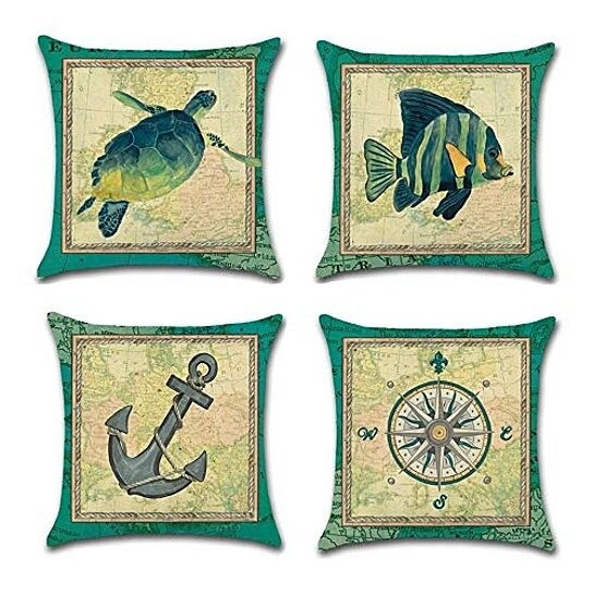 set of 4 pillow cases park ocean tropical fish sea turtle nautical anchor compass cyan blue marine pillowcase cushion cover case home decor