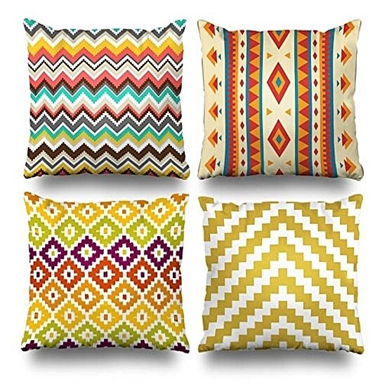 set of 4 pillow cases tribal chevron geometric colorful aztec ikat diamond zigzag mustard yellow pillowcase cushion cover case home decor