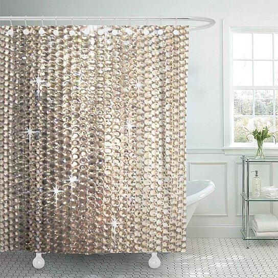 silver sparkle bling neutral tan diamonds gold crystals beads bathroom decor bath shower curtain 60x72 inch