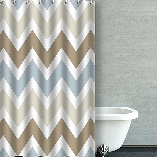 smoky blue gray tan brown chevron pattern bathroom shower curtain 36x72 inches