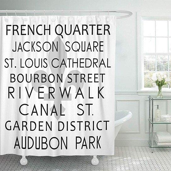 subway new orleans destination louisiana french quarter fleur lis bathroom decor bath shower curtain 60x72 inch