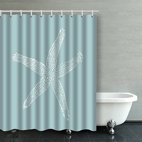 vintage starfish illustration pastel seafoam blue bathroom shower curtain 60x72 inches