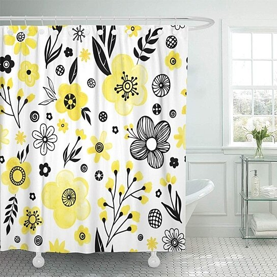 watercolor floral spring flowers and leaves cute black yellow bathroom decor bath shower curtain 66x72 inch