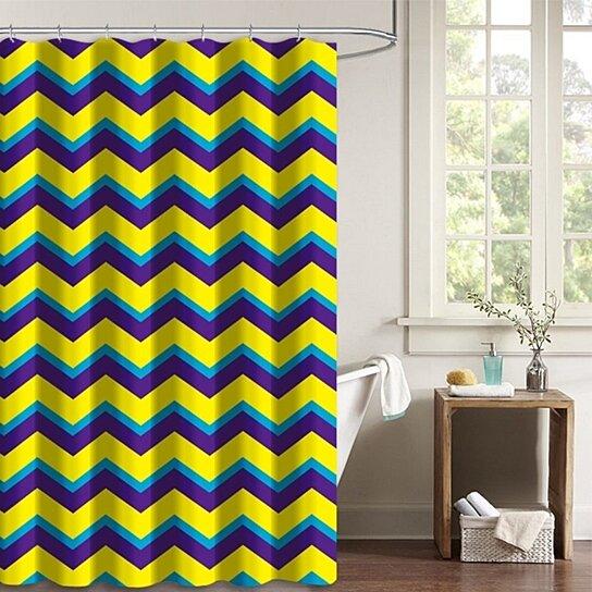 yellow blue purple chevron zigzag pattern polyester fabric bathroom shower curtain 66x72 inches