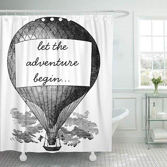 adventure hot air balloon begin wedding travel journey shower curtain 60x72 inch