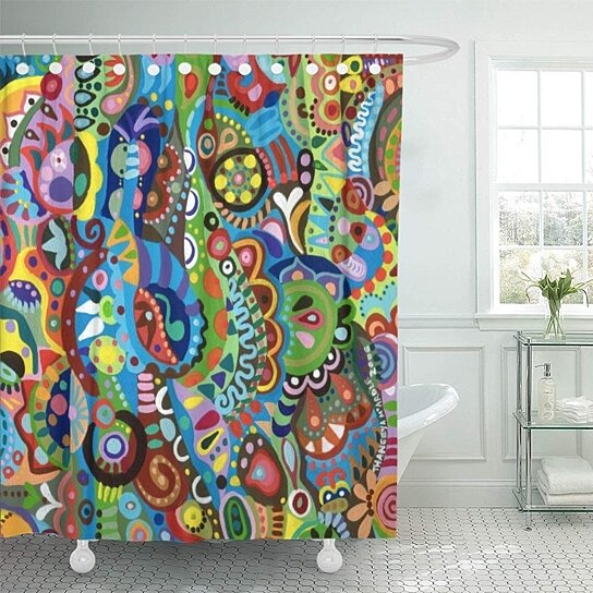 colorful fun whimsical tribal abstract funky psychedelic trippy cool shower curtain 60x72 inch