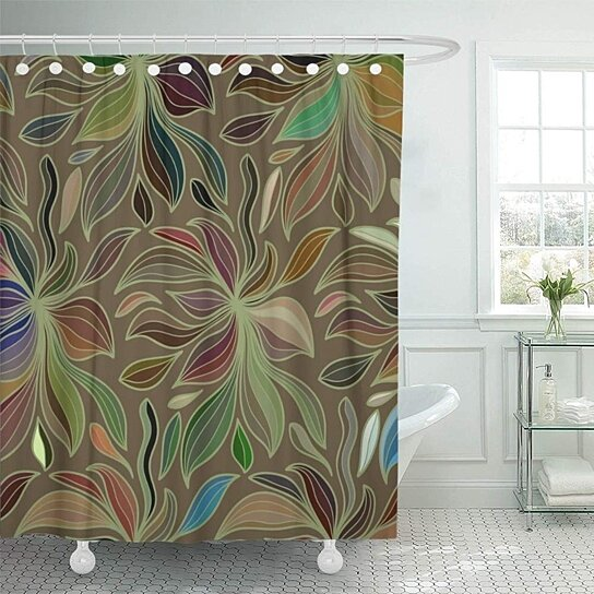 curly abstract color of doodle lines colorful floral pattern wave camo camouflage shower curtains set 66x72 inch