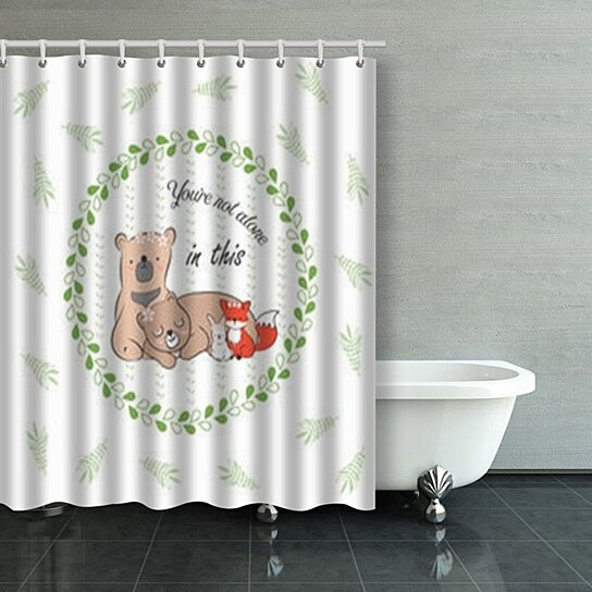 doodle set best friends cute rabbit babys fox shower curtains bathroom curtain 60x72 inch