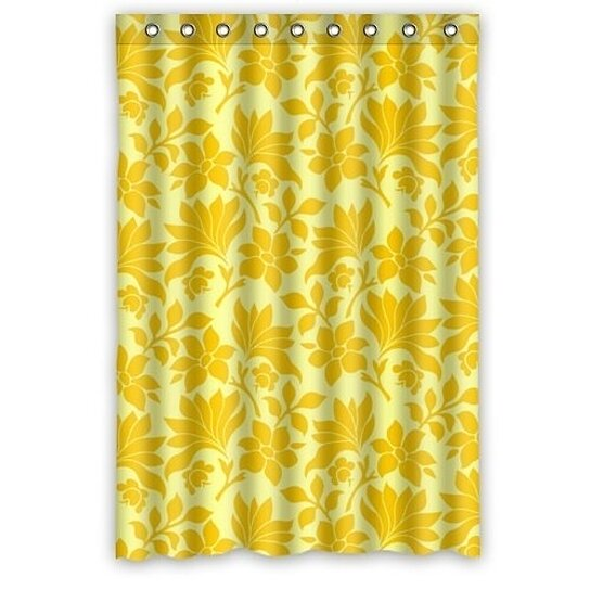 elegance bright yellow flowers in light yellow shower curtain waterproof polyester fabric shower curtain size 48x72 inches