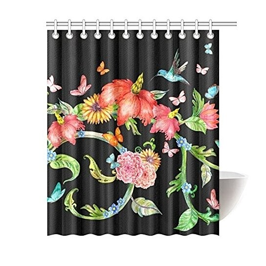 flowers with butterflies and flying hummingbird bathroom waterproof fabric shower curtain 66x72 inches