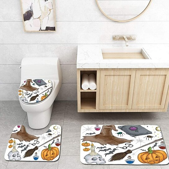 halloween magic spells witch craft objects doodle style grunge candle 3 piece bathroom rugs set bath rug contour mat and toilet lid cover