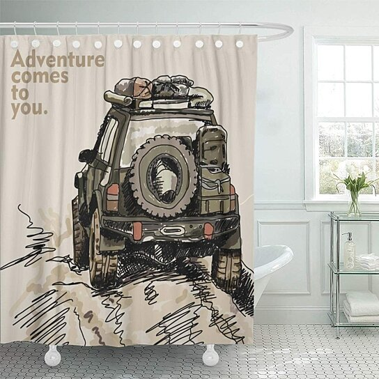 jeep adventure off road car safari offroad 4x4 desert truck shower curtain 66x72 inch