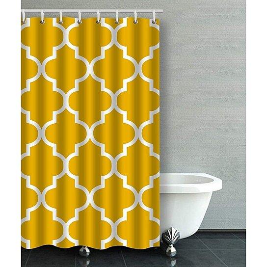 moroccan quatrefoil mustard yellow bathroom shower curtain 48x72 inches