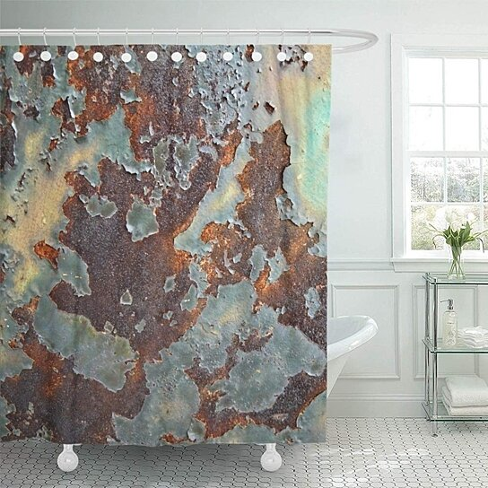 orange rust rusted metal damaged retro brass scratched copper patina abstract shower curtain bath curtain 66x72 inch