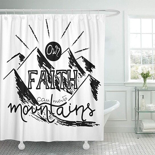our faith can move mountains inspirational and motivational shower curtain 60x72 inch