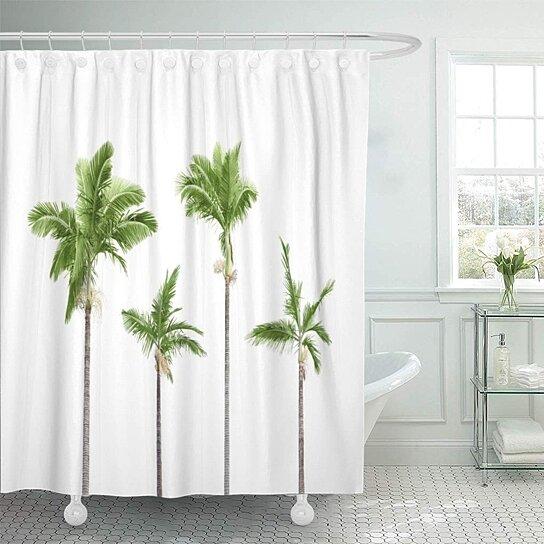 palmetto green palmtree palm trees rainforest vegetation coconut shower curtain 60x72 inch