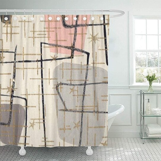 pink 1950s mid century modern abstract vintage 1960s retro shower curtain 60x72 inch