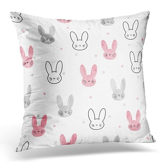 pink watercolor cute bunny pattern with rabbits design funny pillow case pillow cover 18x18 inch
