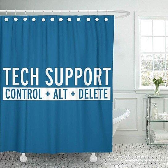 programming tech support funny designer geek internet retro computer shower curtain 66x72 inch