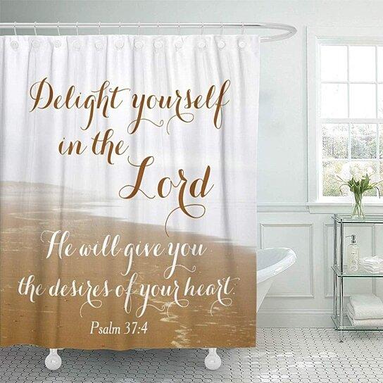 scripture psalm sandy ocean beach shower curtain 66x72 inch