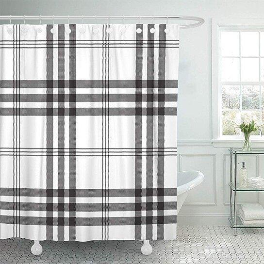 tartan black check pixel plaid grid flannel irregular abstract british bathroom shower curtain 66x72 inch
