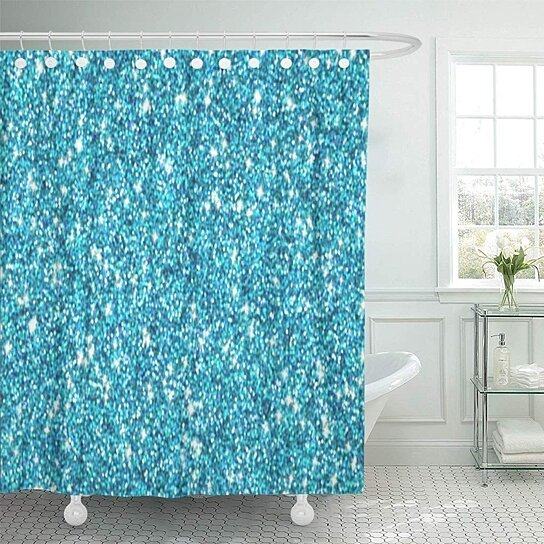 teal look blue turquoise shimmer shiny glitz shower curtain 60x72 inch