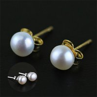 Buy Genuine Pearl Stud Earrings with Sterling Silver Post ...