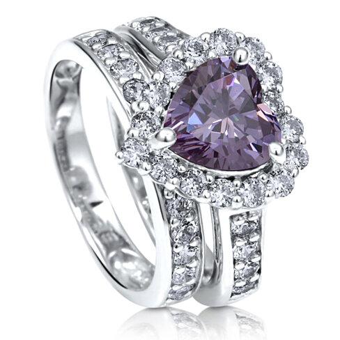 Buy BERRICLE Sterling Silver Purple CZ Halo Heart