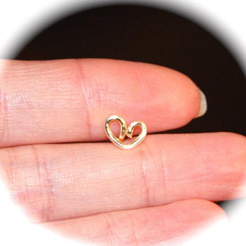 Buy 16 gauge Heart Stud Cartilage Earrings, Cartilage