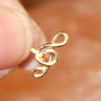 Buy 20 18 16 gauge Treble Clef Nose Stud, Lobe Earrings