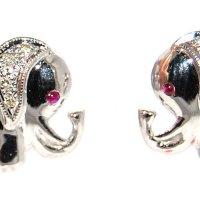 Buy Unique Ruby Gemstone Diamond Elephant Earrings 18K ...