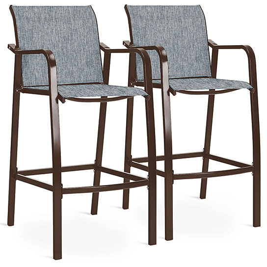 costway 2 pcs 4 pcs counter height stool patio chair steel frame leisure dining bar chair gray