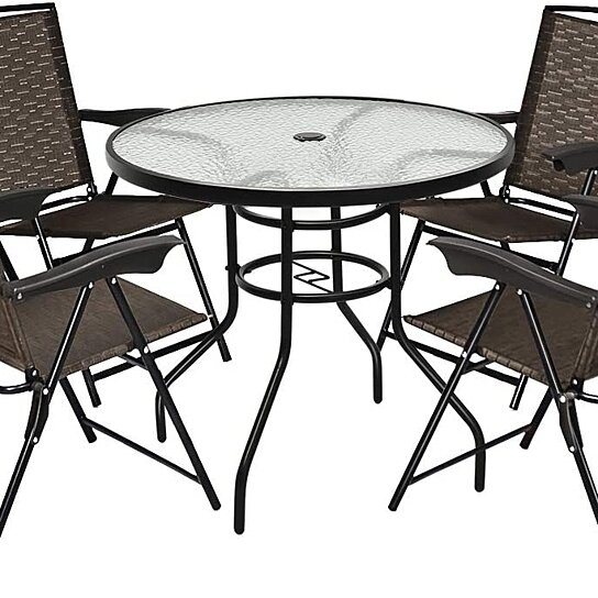 costway 5pcs bistro patio furniture set 4 folding adjustable chairs glass table w hole