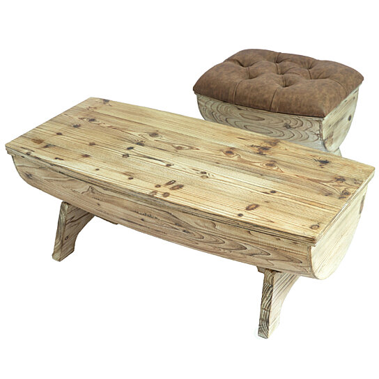 vintage wooden wine barrel storage bench and coffee table