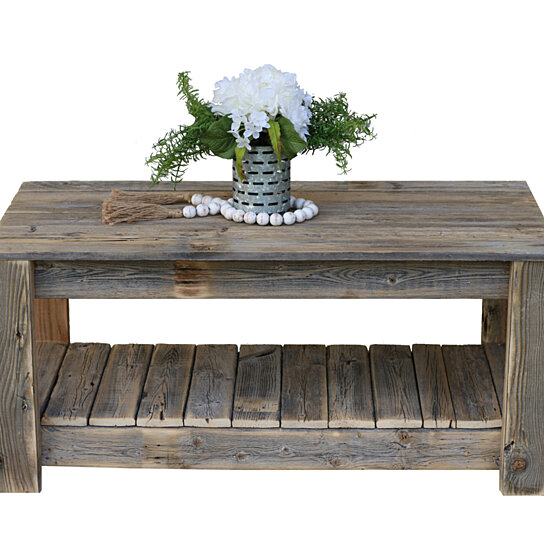 natural unfinished coffee table with shelf